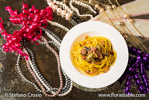 Saffron and artichoke linguine