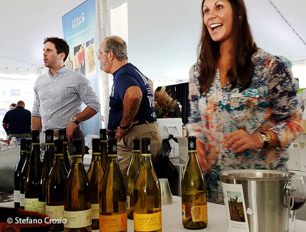 USA, Greenwich: The stand of the Nantucket Vineyard, a US wine producer, at the Greenwich Wine + Food Festival