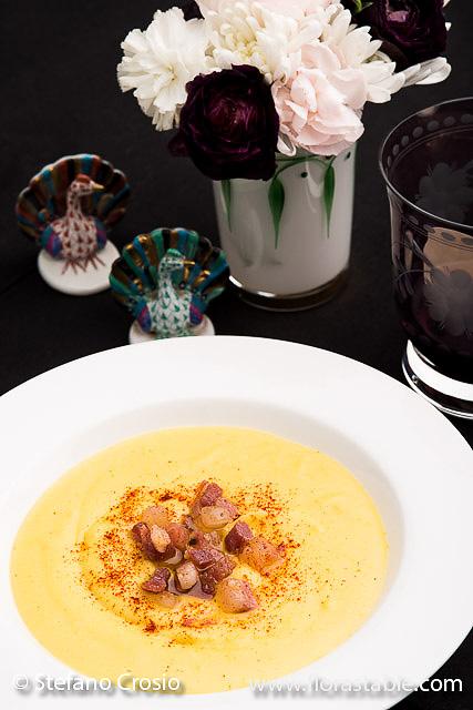 Potato, saffron and pancetta soup