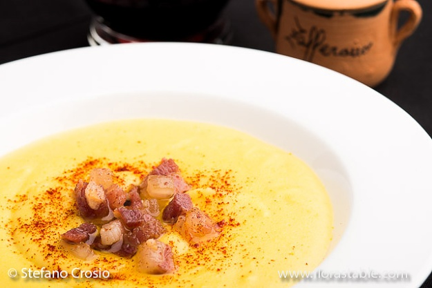 Potato, saffron and pancetta soup