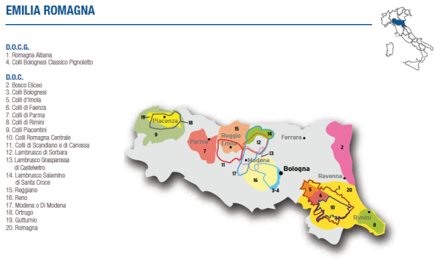 Wine Map of Emilia Romagna – Courtesy of Federdoc (click on map to go to website)