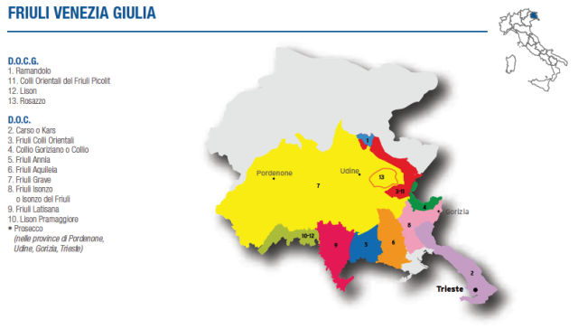 Wine Map of Friuli Venezia Giulia – Courtesy of Federdoc (click on map to go to website)