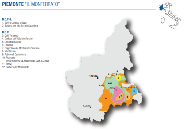 Wine Map of Piemonte (Monferrato) – Courtesy of Federdoc (click on map to go to website)