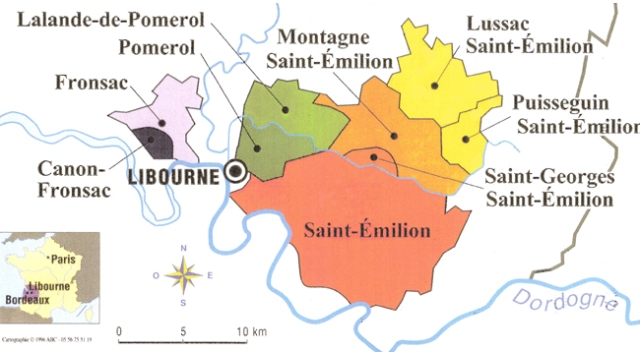 Map of the Libournais Area and Main Appellations - Courtesy of Janoueix Clos du Roy (click on map to visit website)