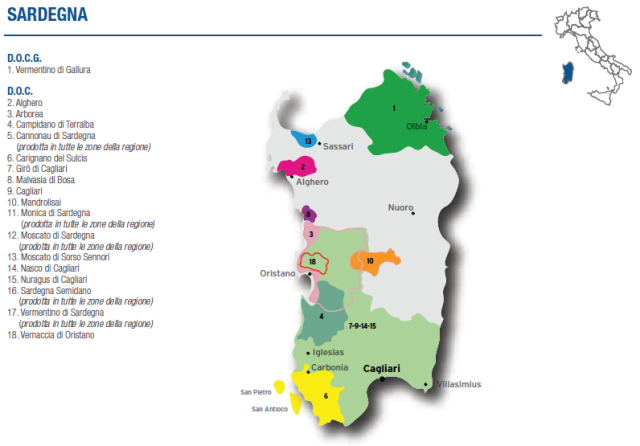 Wine Map of Sardegna – Courtesy of Federdoc (click on map to go to website)
