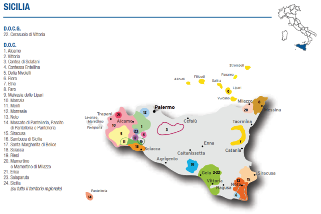 Wine Map of Sicilia – Courtesy of Federdoc (click on map to go to website)
