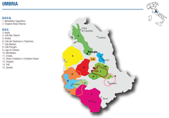 Wine Map of Umbria – Courtesy of Federdoc (click on map to go to website)