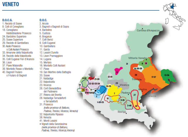 Wine Map of Veneto – Courtesy of Federdoc (click on map to go to website)